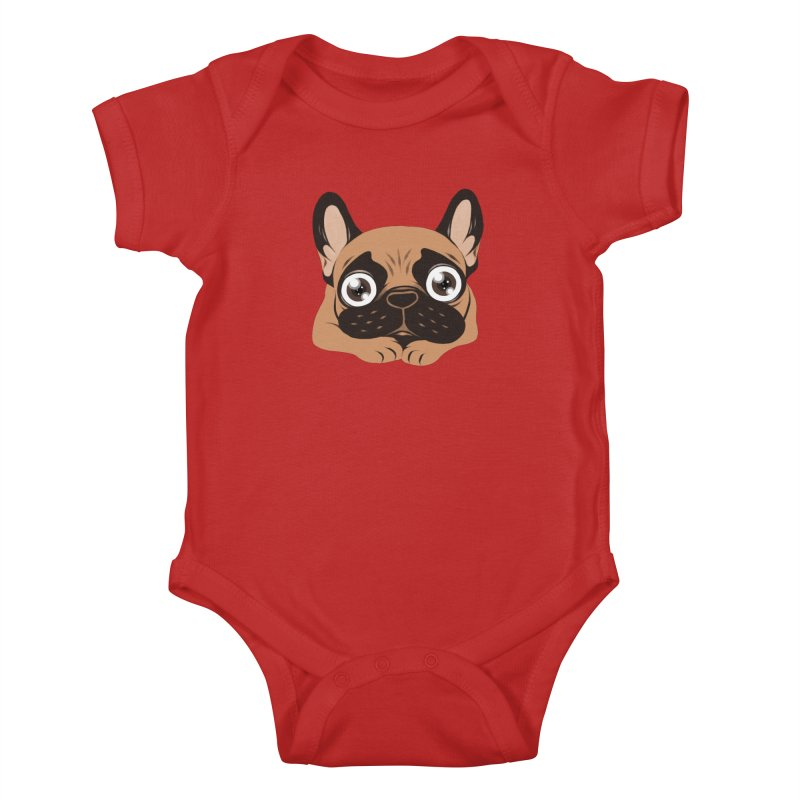 Black mask fawn Frenchie is ready to play Kids Baby Bodysuit by Emotional Frenchies - Cute French Bulldog T-shirts