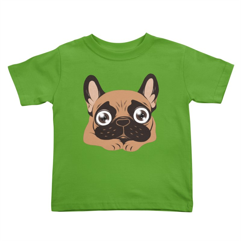 Black mask fawn Frenchie is ready to play Kids Toddler T-Shirt by Emotional Frenchies - Cute French Bulldog T-shirts