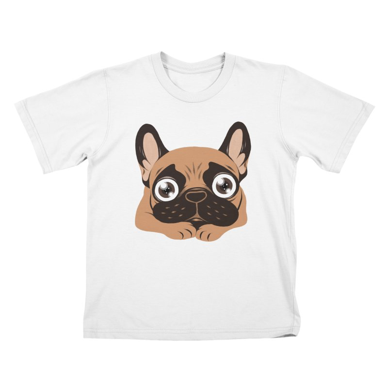 Black mask fawn Frenchie is ready to play Kids T-Shirt by Emotional Frenchies - Cute French Bulldog T-shirts