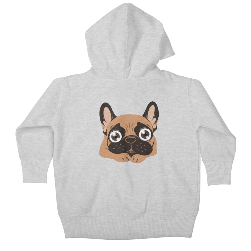 Black mask fawn Frenchie is ready to play Kids Baby Zip-Up Hoody by Emotional Frenchies - Cute French Bulldog T-shirts