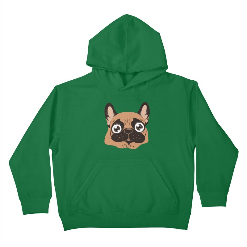 Black mask fawn Frenchie is ready to play Kids Pullover Hoody by Emotional Frenchies - Cute French Bulldog T-shirts