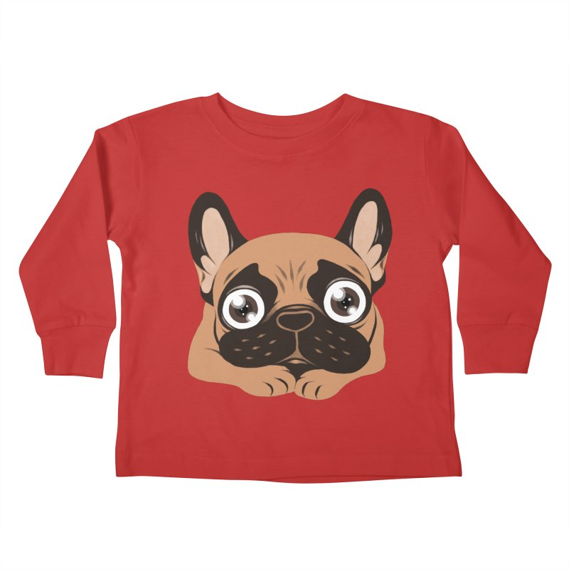 Black mask fawn Frenchie is ready to play Kids Toddler Longsleeve T-Shirt by Emotional Frenchies - Cute French Bulldog T-shirts