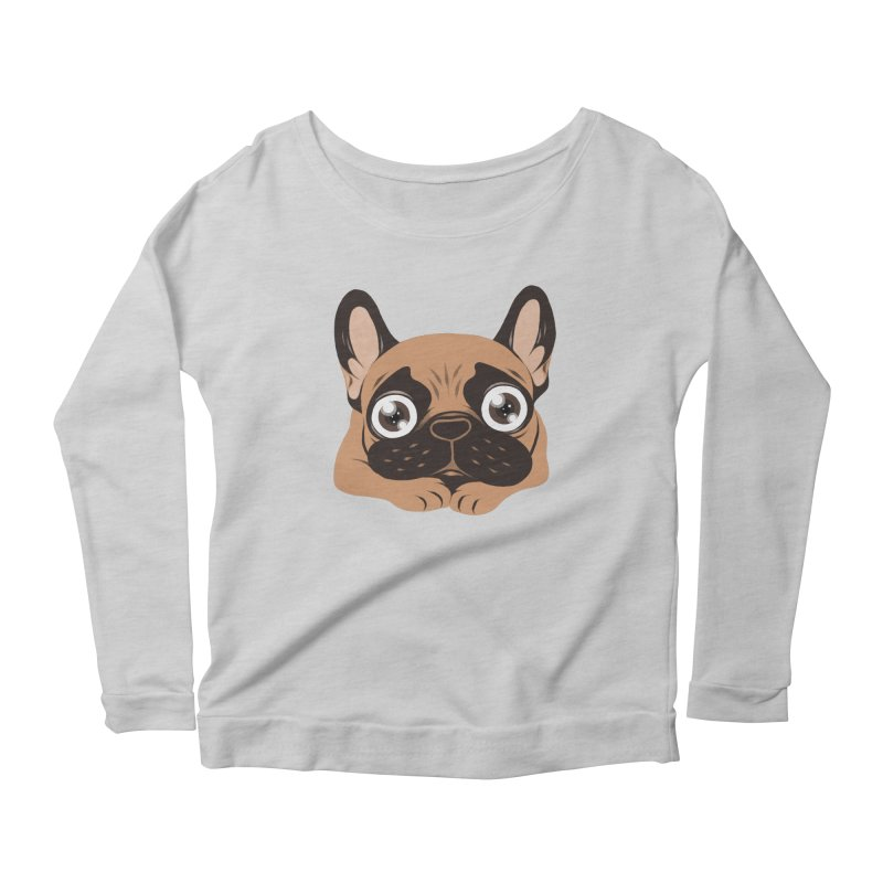 Black mask fawn Frenchie is ready to play Women's Scoop Neck Longsleeve T-Shirt by Emotional Frenchies - Cute French Bulldog T-shirts