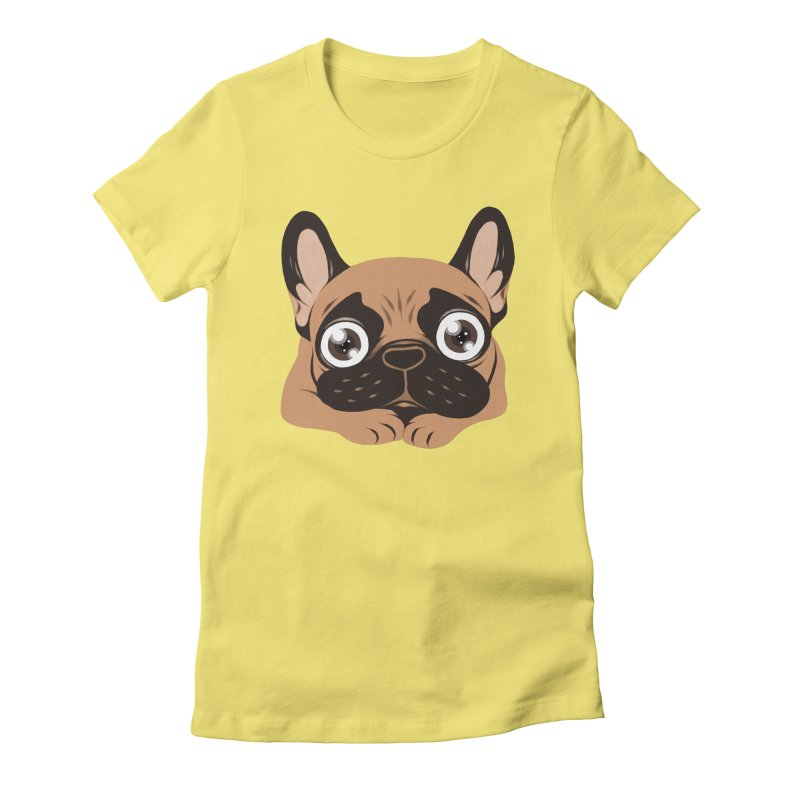 Black mask fawn Frenchie is ready to play Women's Fitted T-Shirt by Emotional Frenchies - Cute French Bulldog T-shirts