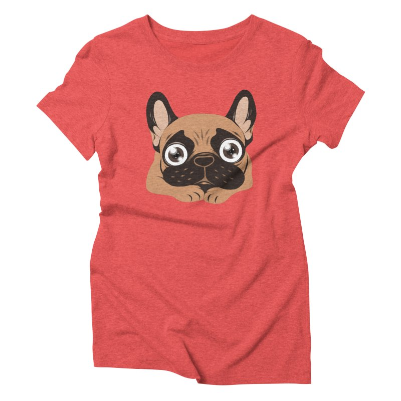 Black mask fawn Frenchie is ready to play Women's Triblend T-Shirt by Emotional Frenchies - Cute French Bulldog T-shirts
