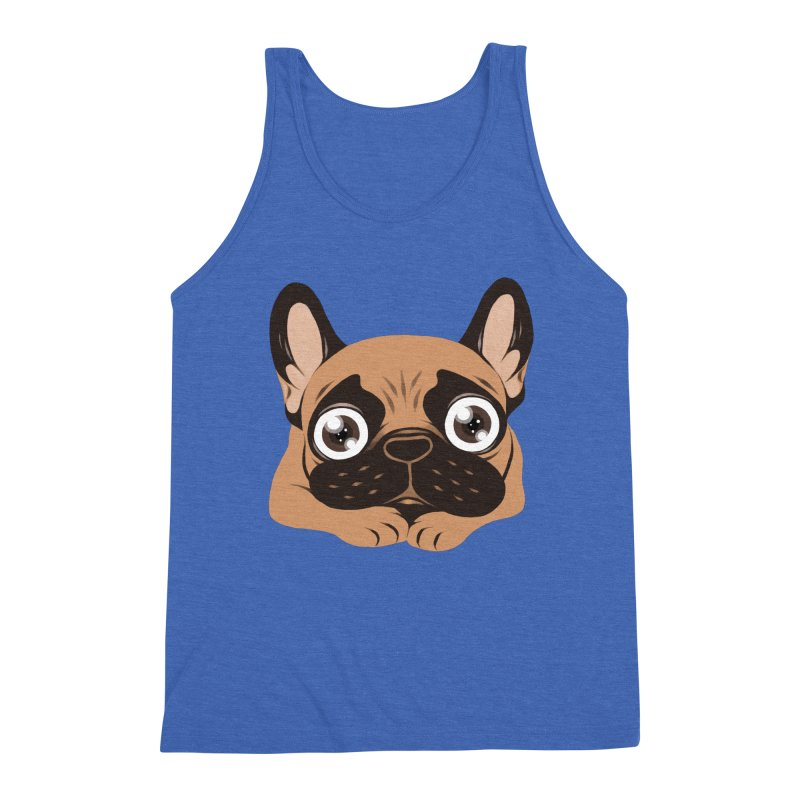 Black mask fawn Frenchie is ready to play Men's Triblend Tank by Emotional Frenchies - Cute French Bulldog T-shirts