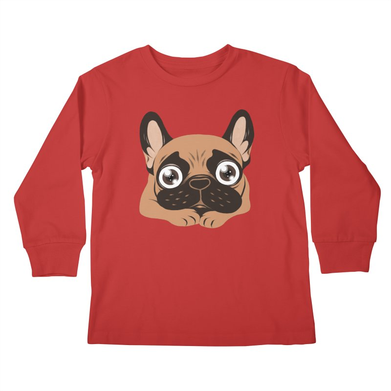Black mask fawn Frenchie is ready to play Kids Longsleeve T-Shirt by Emotional Frenchies - Cute French Bulldog T-shirts