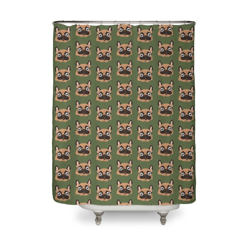 Black mask fawn Frenchie is ready to play Home Shower Curtain by Emotional Frenchies - Cute French Bulldog T-shirts