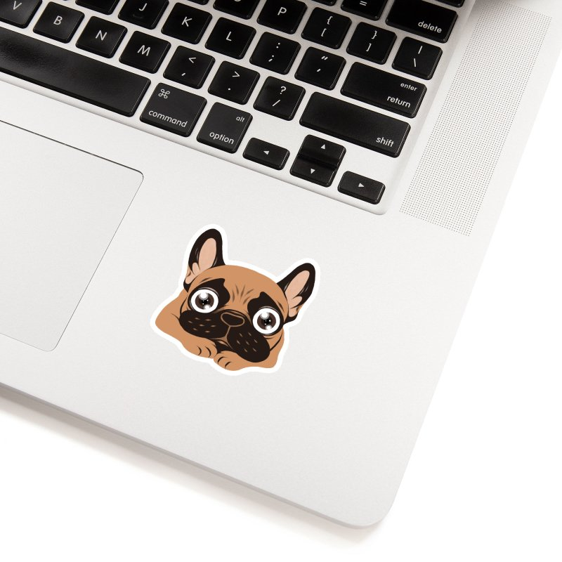 Black mask fawn Frenchie is ready to play Accessories Sticker by Emotional Frenchies - Cute French Bulldog T-shirts