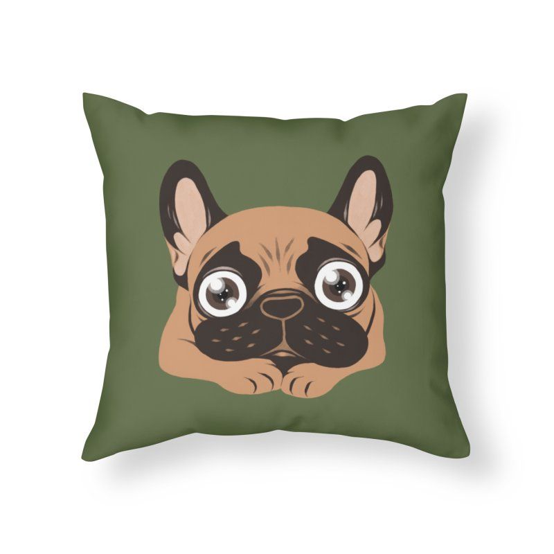 Black mask fawn Frenchie is ready to play Home Throw Pillow by Emotional Frenchies - Cute French Bulldog T-shirts
