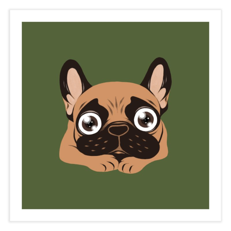 Black mask fawn Frenchie is ready to play Home Fine Art Print by Emotional Frenchies - Cute French Bulldog T-shirts