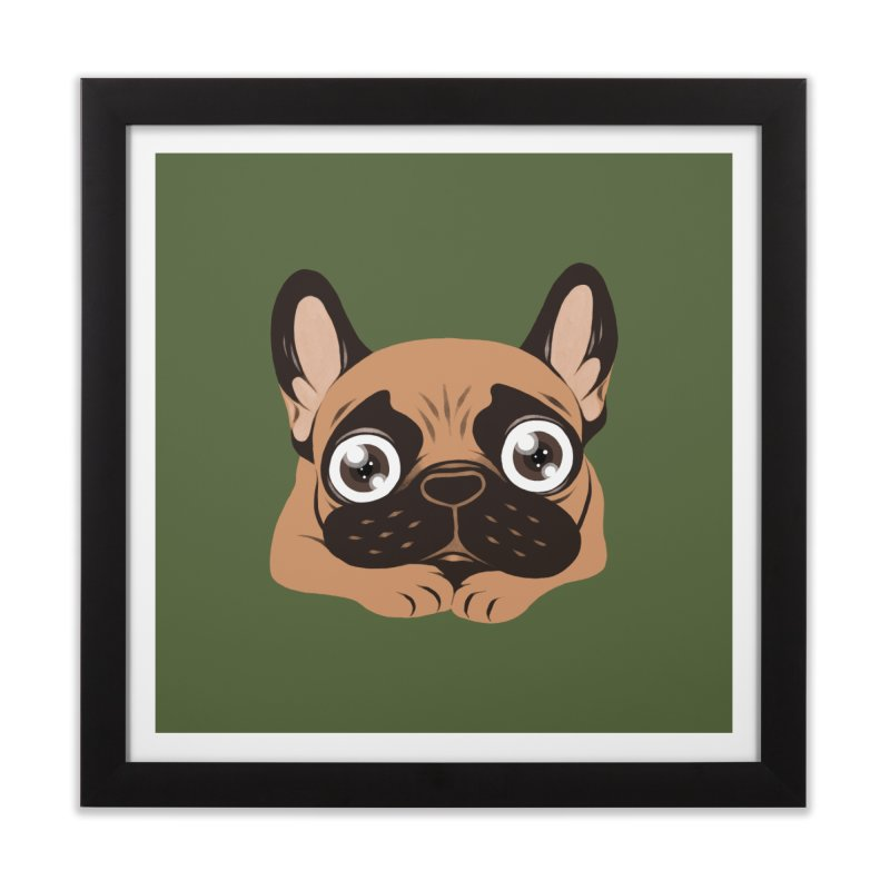 Black mask fawn Frenchie is ready to play Home Framed Fine Art Print by Emotional Frenchies - Cute French Bulldog T-shirts