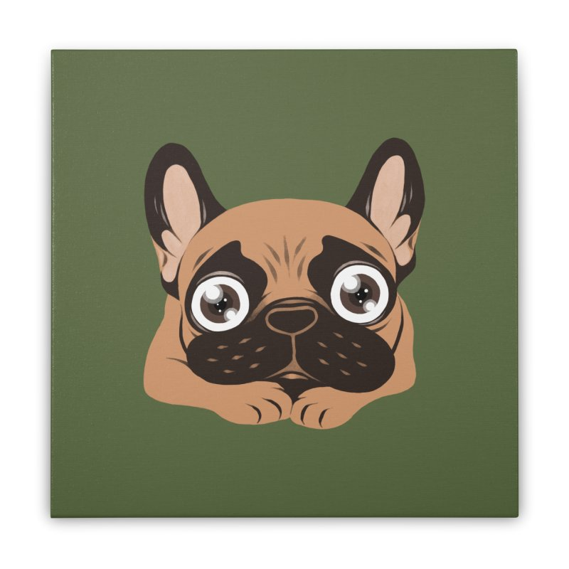 Black mask fawn Frenchie is ready to play Home Stretched Canvas by Emotional Frenchies - Cute French Bulldog T-shirts