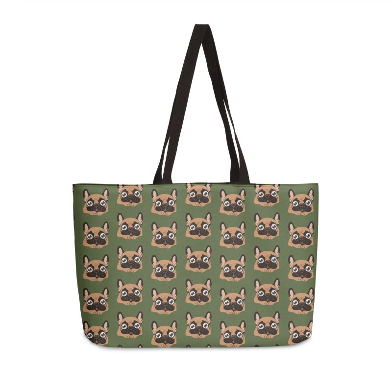 Black mask fawn Frenchie is ready to play Accessories Weekender Bag Bag by Emotional Frenchies - Cute French Bulldog T-shirts