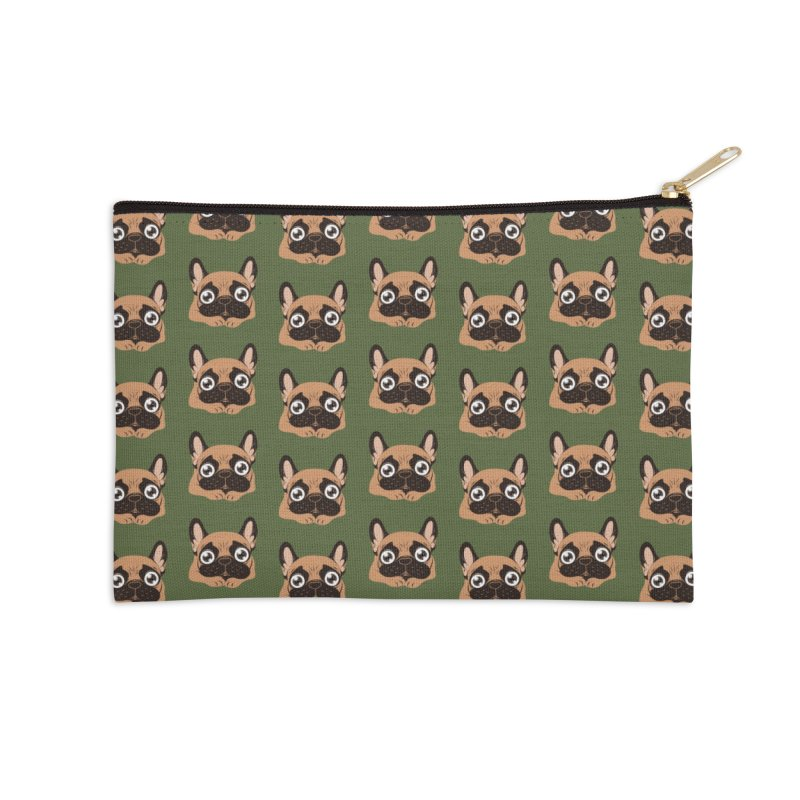 Black mask fawn Frenchie is ready to play Accessories Zip Pouch by Emotional Frenchies - Cute French Bulldog T-shirts