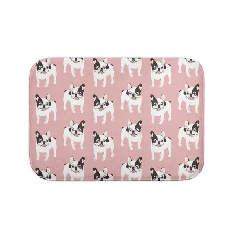 Happy and Fun Single Hooded Pied French Bulldog Home Bath Mat by Emotional Frenchies - Cute French Bulldog T-shirts