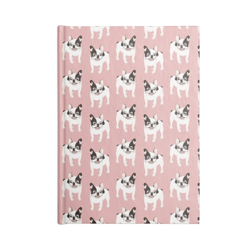 Happy and Fun Single Hooded Pied French Bulldog Accessories Blank Journal Notebook by Emotional Frenchies - Cute French Bulldog T-shirts