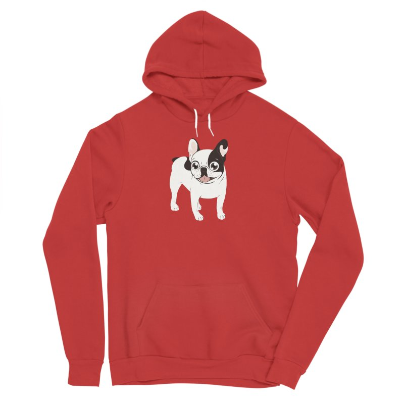 Happy and Fun Single Hooded Pied French Bulldog Men's Sponge Fleece Pullover Hoody by Emotional Frenchies - Cute French Bulldog T-shirts