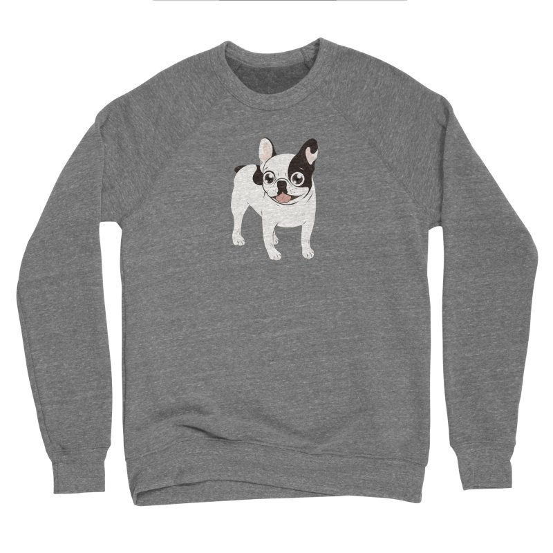 Happy and Fun Single Hooded Pied French Bulldog in Women's Sponge Fleece Sweatshirt Grey Triblend by Emotional Frenchies - Cute French Bulldog T-shirts