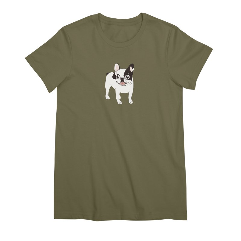 Happy and Fun Single Hooded Pied French Bulldog Women's Premium T-Shirt by Emotional Frenchies - Cute French Bulldog T-shirts