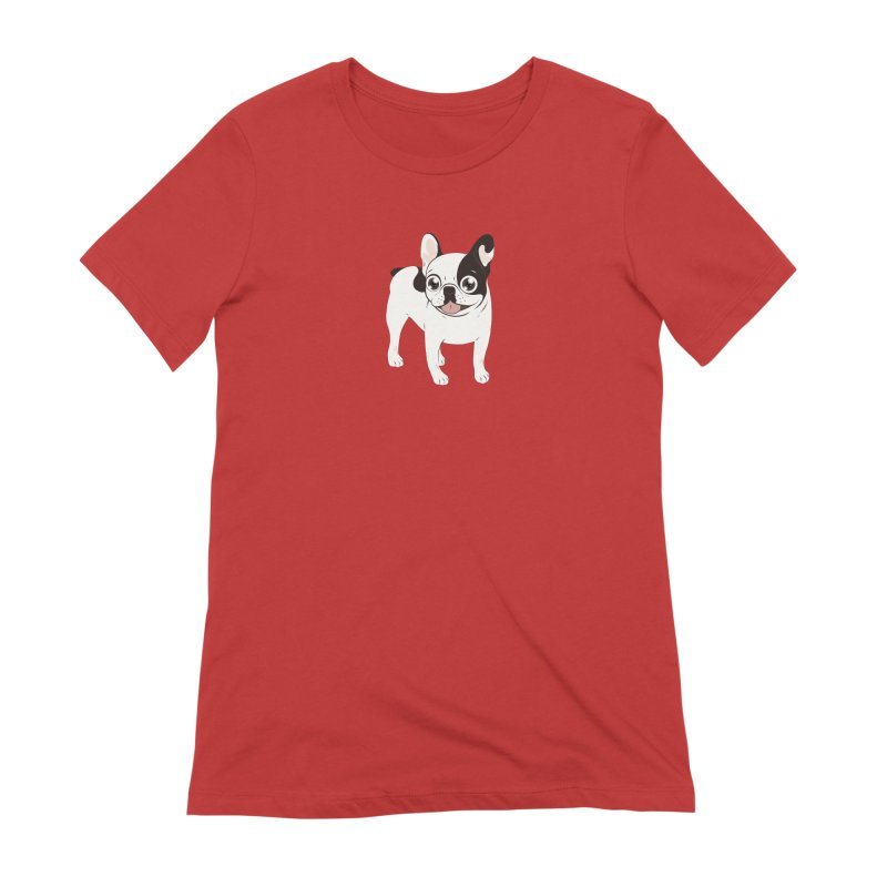 Happy and Fun Single Hooded Pied French Bulldog Women's Extra Soft T-Shirt by Emotional Frenchies - Cute French Bulldog T-shirts