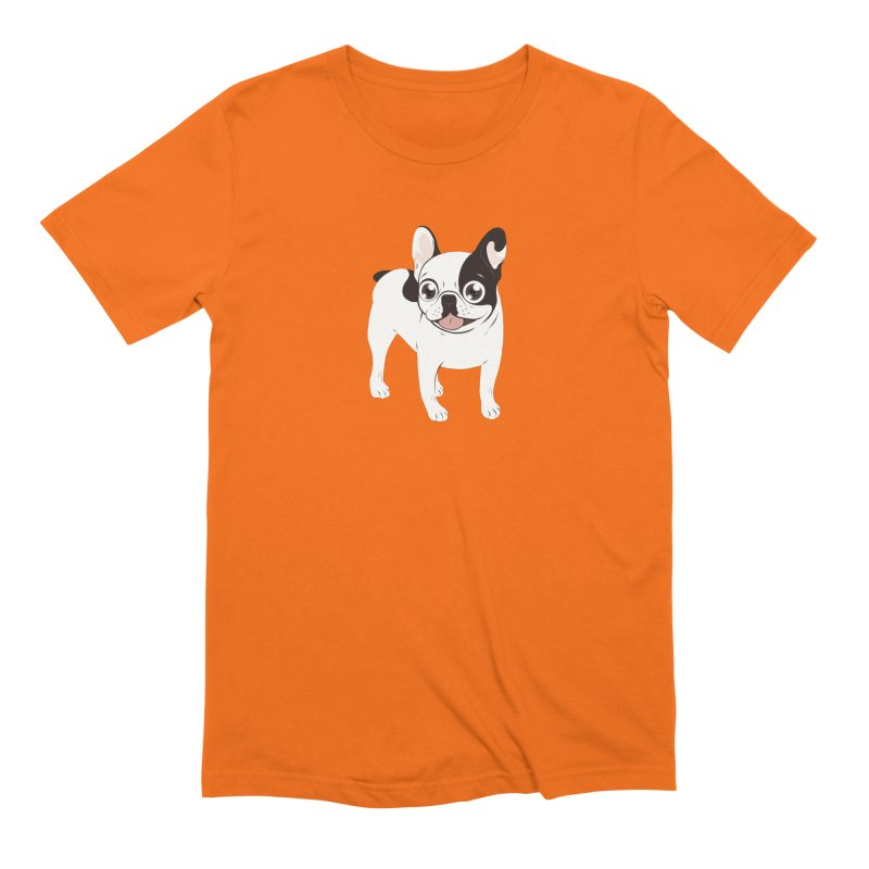 Happy and Fun Single Hooded Pied French Bulldog Men's Extra Soft T-Shirt by Emotional Frenchies - Cute French Bulldog T-shirts