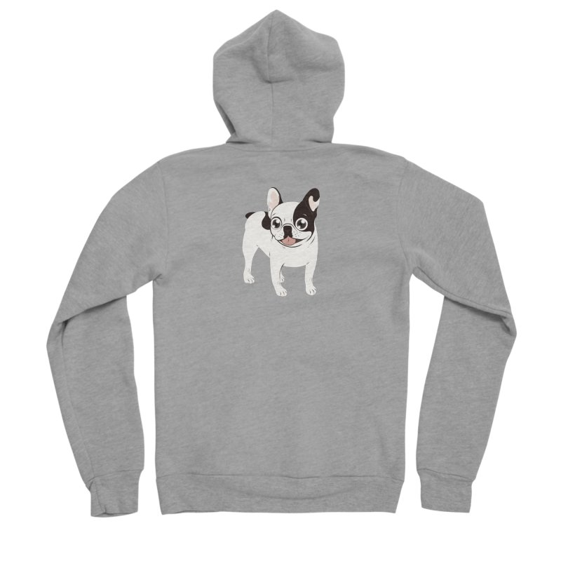 Happy and Fun Single Hooded Pied French Bulldog Women's Sponge Fleece Zip-Up Hoody by Emotional Frenchies - Cute French Bulldog T-shirts