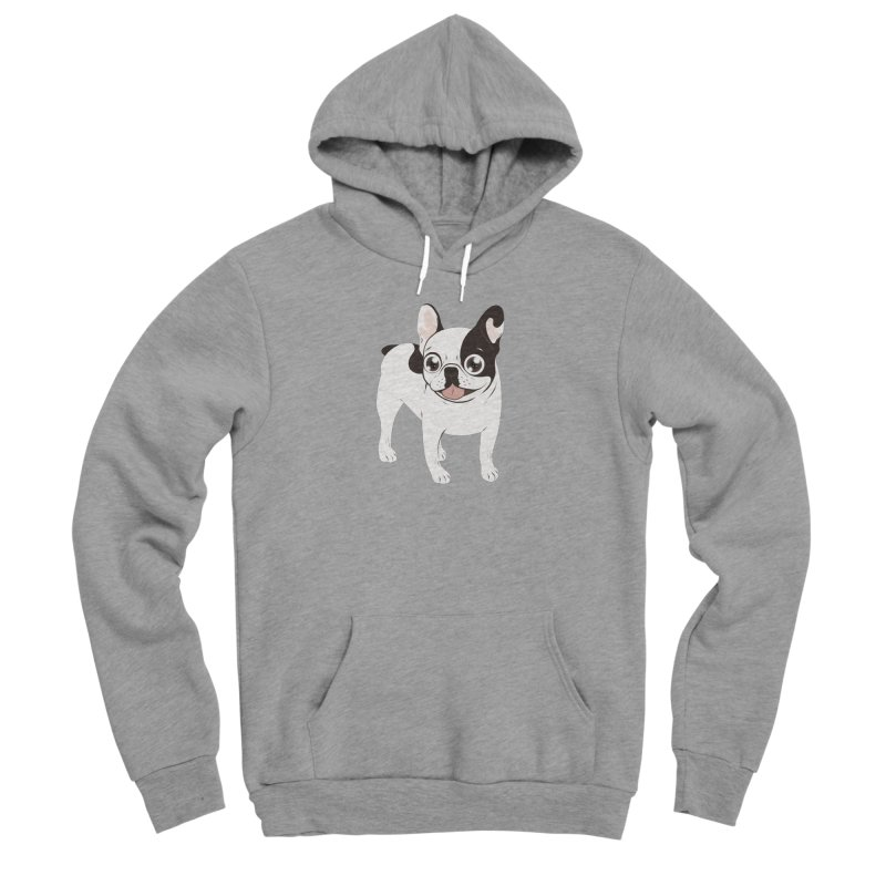 Happy and Fun Single Hooded Pied French Bulldog Women's Sponge Fleece Pullover Hoody by Emotional Frenchies - Cute French Bulldog T-shirts