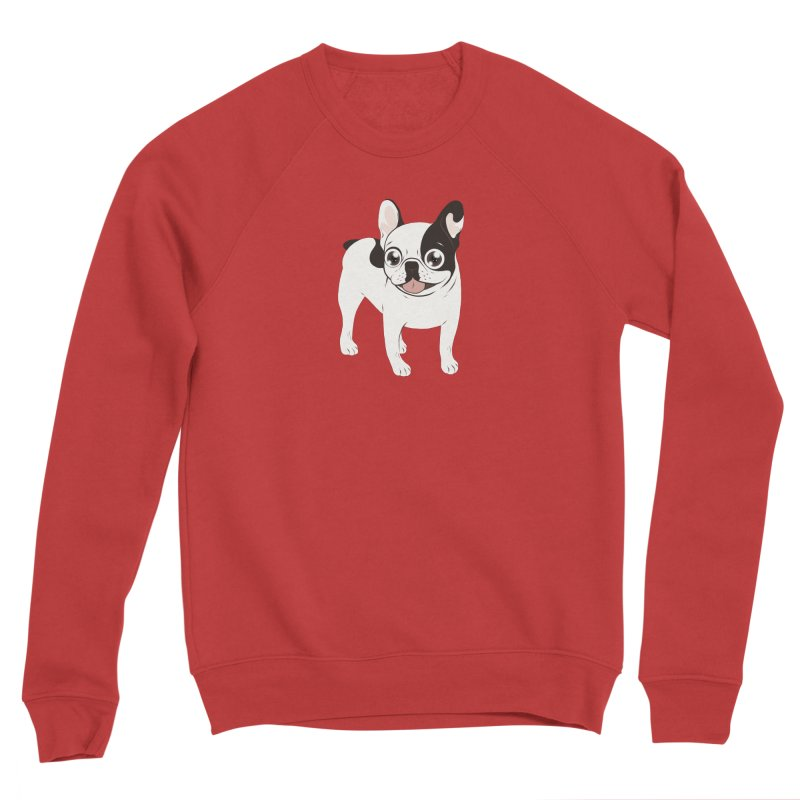 Happy and Fun Single Hooded Pied French Bulldog Women's Sponge Fleece Sweatshirt by Emotional Frenchies - Cute French Bulldog T-shirts