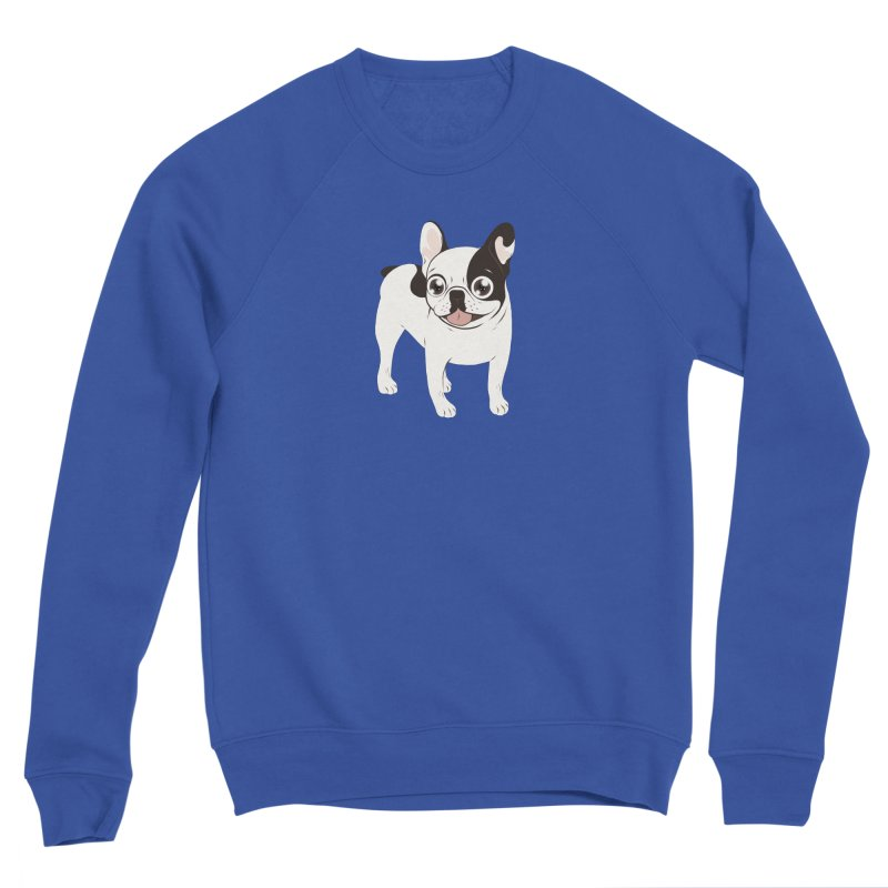 Happy and Fun Single Hooded Pied French Bulldog Men's Sponge Fleece Sweatshirt by Emotional Frenchies - Cute French Bulldog T-shirts