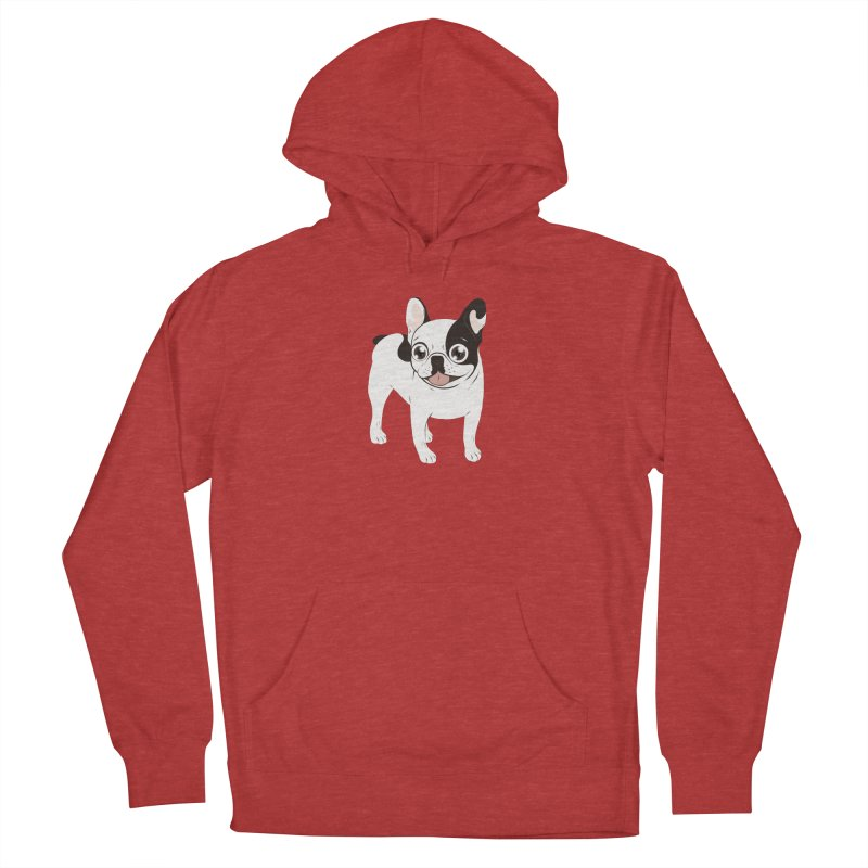 Happy and Fun Single Hooded Pied French Bulldog Women's French Terry Pullover Hoody by Emotional Frenchies - Cute French Bulldog T-shirts