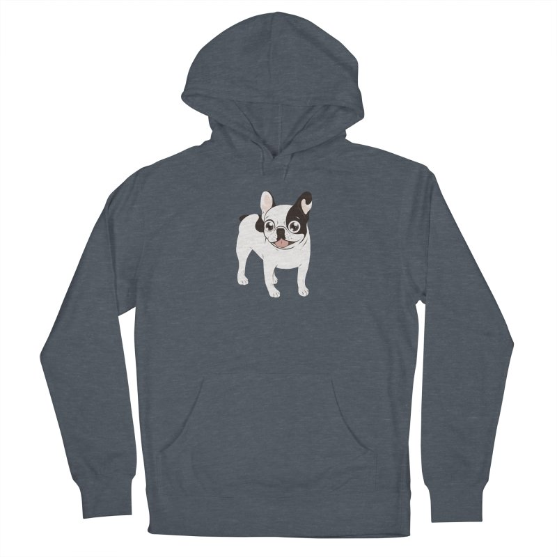 Happy and Fun Single Hooded Pied French Bulldog Men's French Terry Pullover Hoody by Emotional Frenchies - Cute French Bulldog T-shirts