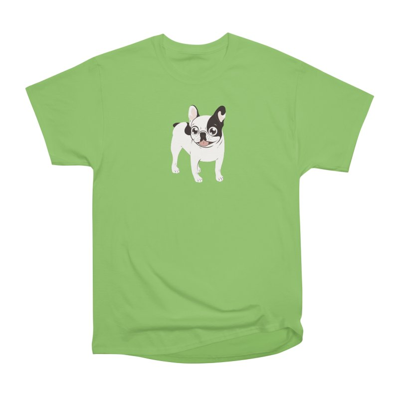 Happy and Fun Single Hooded Pied French Bulldog Women's Heavyweight Unisex T-Shirt by Emotional Frenchies - Cute French Bulldog T-shirts