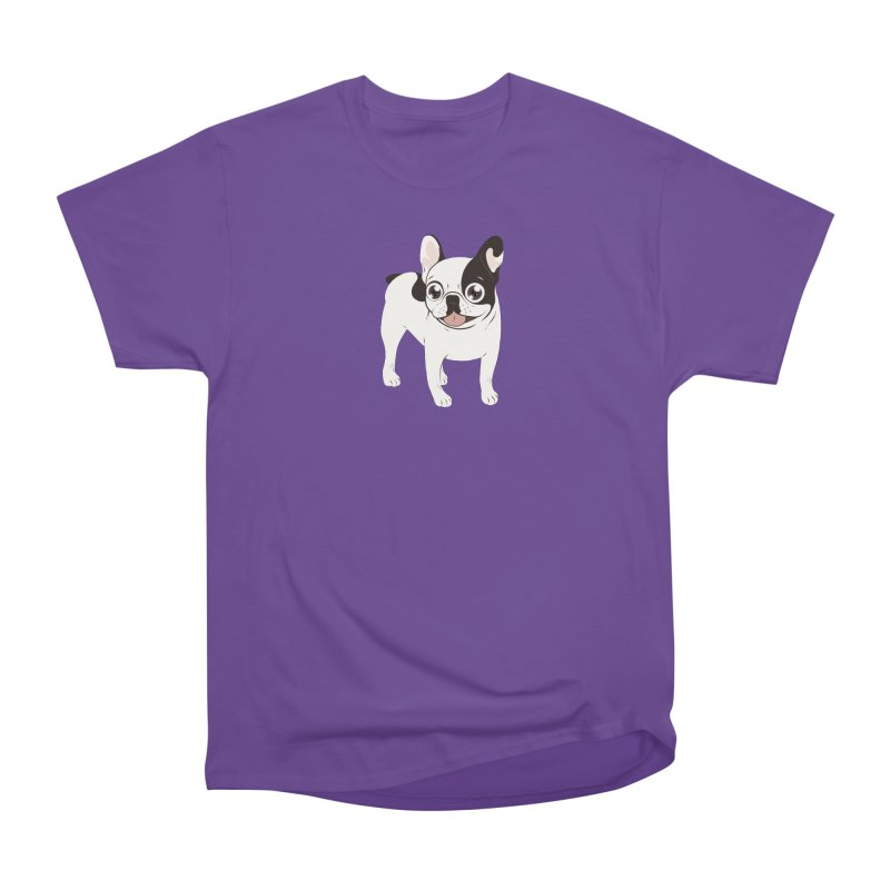 Happy and Fun Single Hooded Pied French Bulldog Men's Heavyweight T-Shirt by Emotional Frenchies - Cute French Bulldog T-shirts