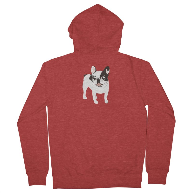Happy and Fun Single Hooded Pied French Bulldog Women's French Terry Zip-Up Hoody by Emotional Frenchies - Cute French Bulldog T-shirts