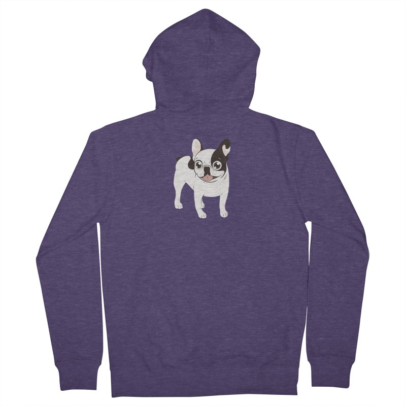 Happy and Fun Single Hooded Pied French Bulldog Men's Zip-Up Hoody by Emotional Frenchies - Cute French Bulldog T-shirts