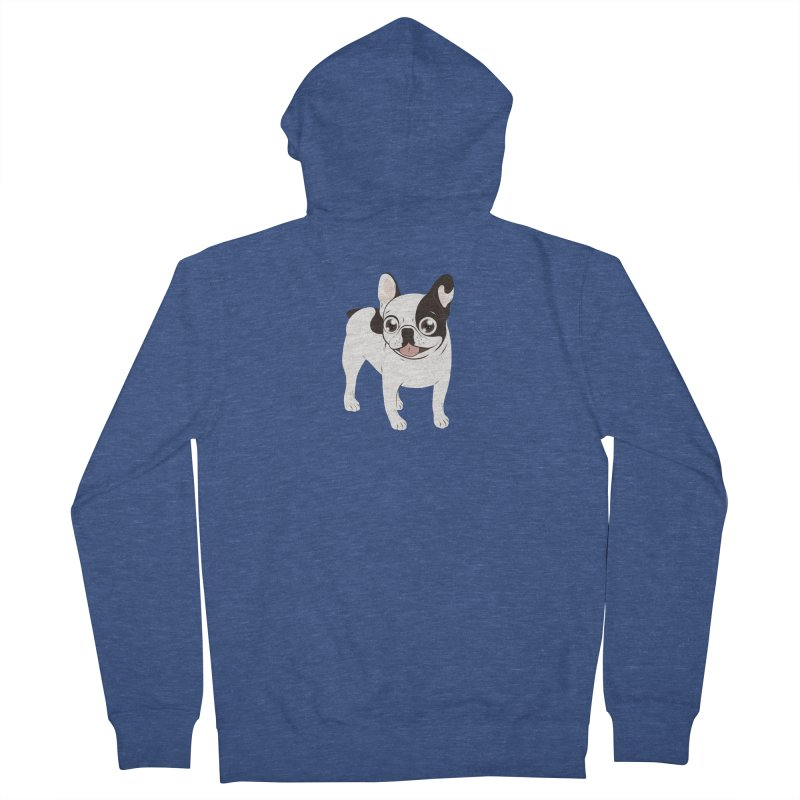 Happy and Fun Single Hooded Pied French Bulldog Men's French Terry Zip-Up Hoody by Emotional Frenchies - Cute French Bulldog T-shirts