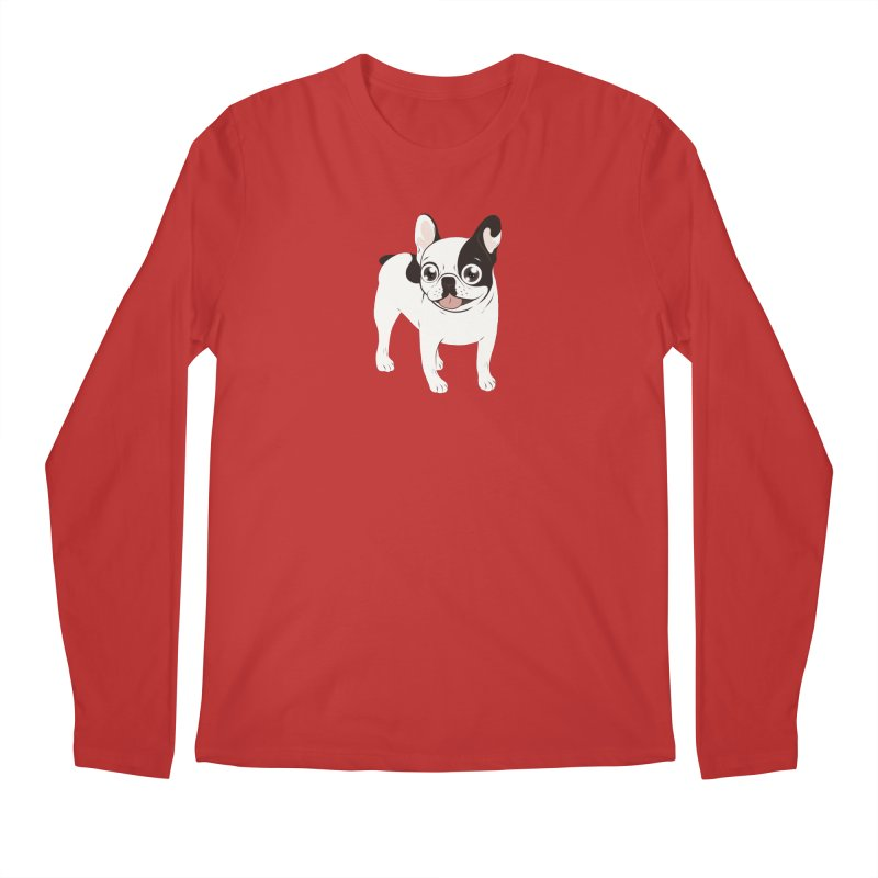 Happy and Fun Single Hooded Pied French Bulldog Men's Regular Longsleeve T-Shirt by Emotional Frenchies - Cute French Bulldog T-shirts