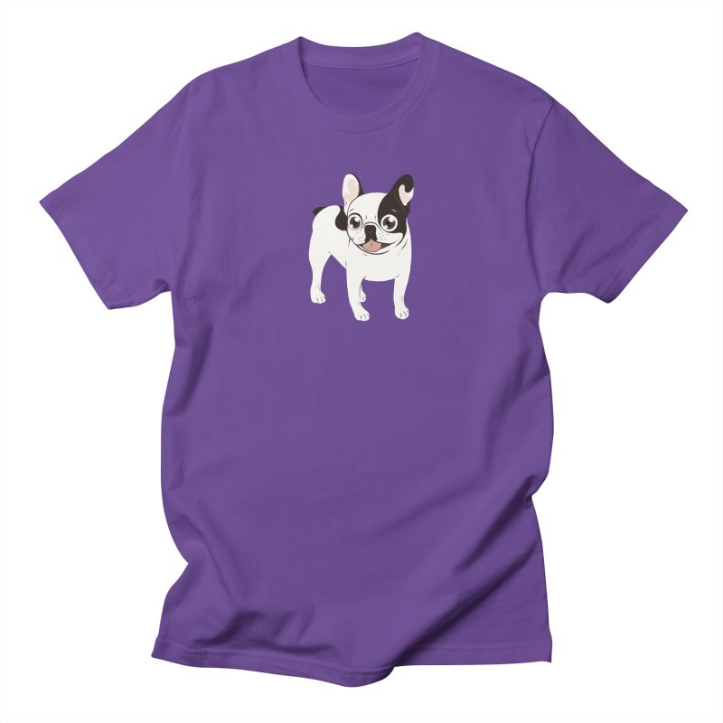 Happy and Fun Single Hooded Pied French Bulldog Men's Regular T-Shirt by Emotional Frenchies - Cute French Bulldog T-shirts