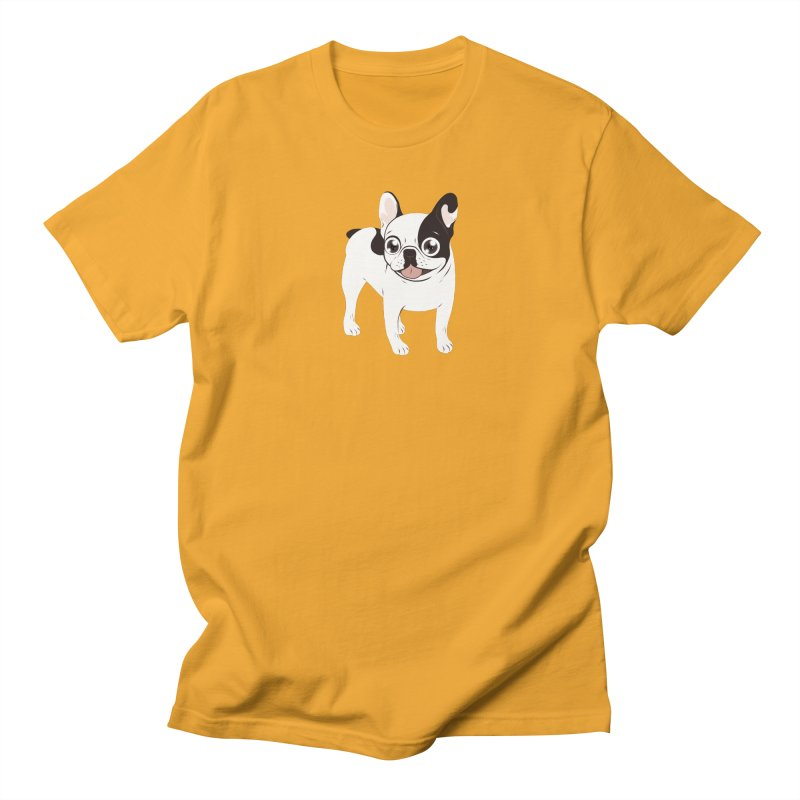 Happy and Fun Single Hooded Pied French Bulldog Women's Regular Unisex T-Shirt by Emotional Frenchies - Cute French Bulldog T-shirts