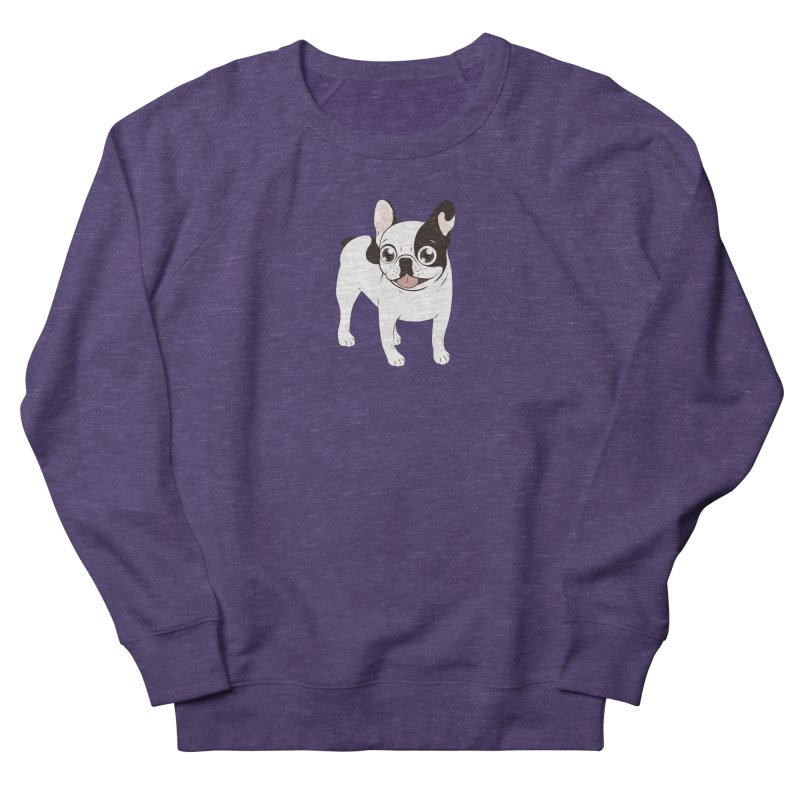 Happy and Fun Single Hooded Pied French Bulldog Women's French Terry Sweatshirt by Emotional Frenchies - Cute French Bulldog T-shirts