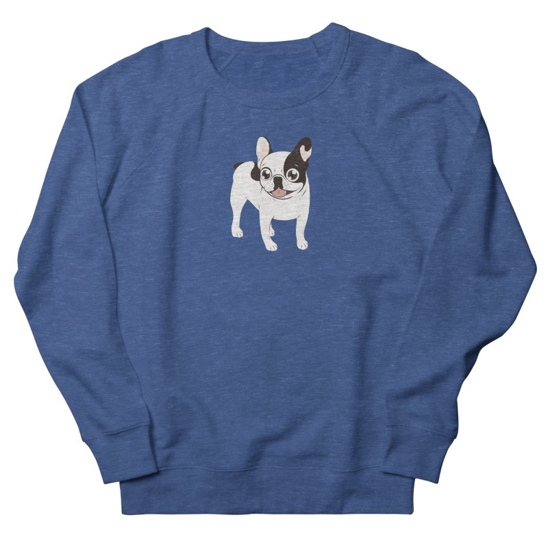 Happy and Fun Single Hooded Pied French Bulldog Men's French Terry Sweatshirt by Emotional Frenchies - Cute French Bulldog T-shirts