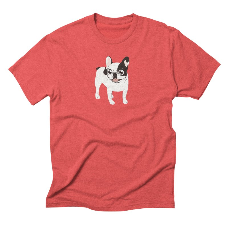Happy and Fun Single Hooded Pied French Bulldog Men's Triblend T-Shirt by Emotional Frenchies - Cute French Bulldog T-shirts