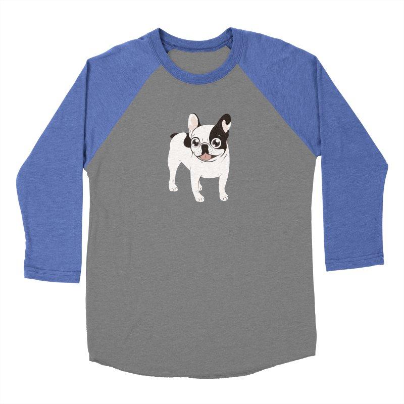 Happy and Fun Single Hooded Pied French Bulldog Women's Baseball Triblend Longsleeve T-Shirt by Emotional Frenchies - Cute French Bulldog T-shirts
