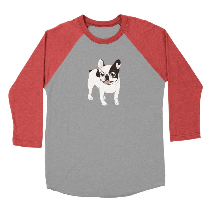 Happy and Fun Single Hooded Pied French Bulldog Women's Baseball Triblend Longsleeve T-Shirt by Emotional Frenchies - Cute French Bulldog T-shirts