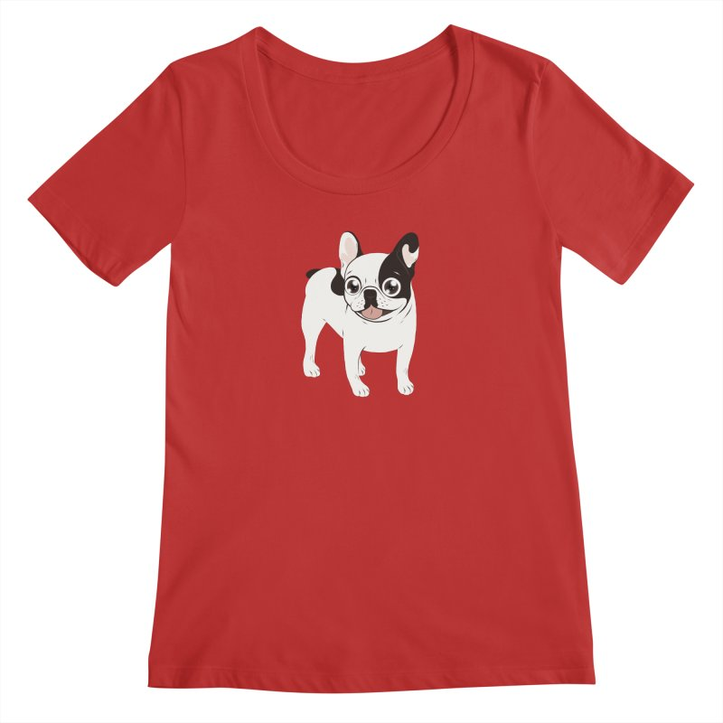 Happy and Fun Single Hooded Pied French Bulldog Women's Regular Scoop Neck by Emotional Frenchies - Cute French Bulldog T-shirts