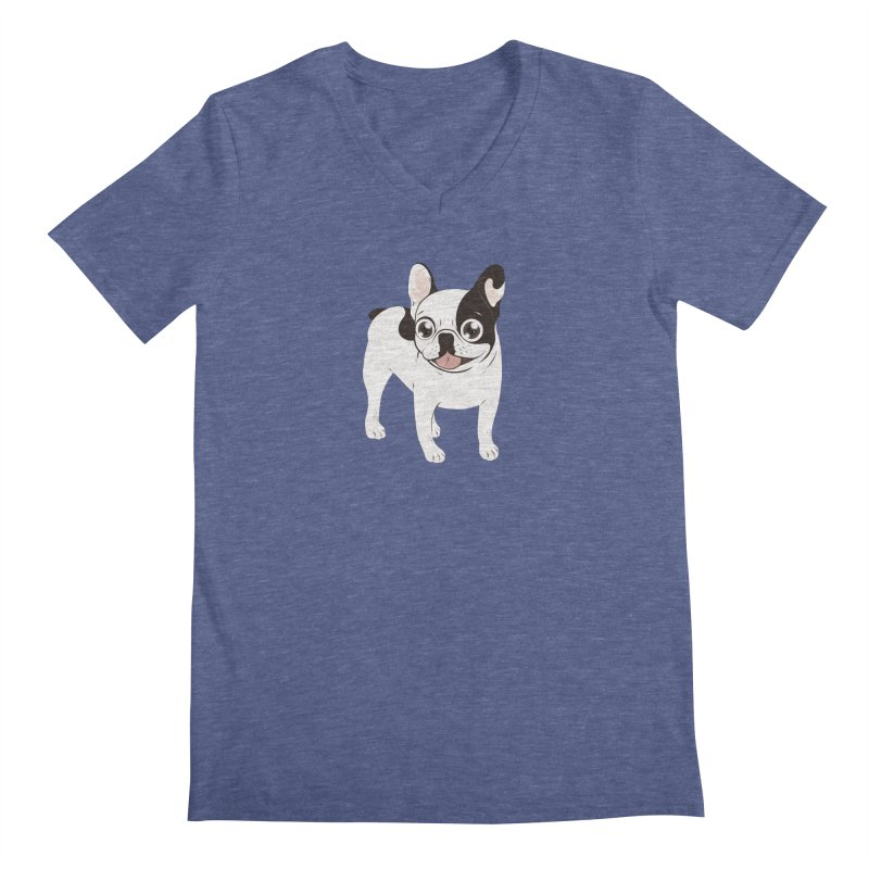 Happy and Fun Single Hooded Pied French Bulldog Men's Regular V-Neck by Emotional Frenchies - Cute French Bulldog T-shirts