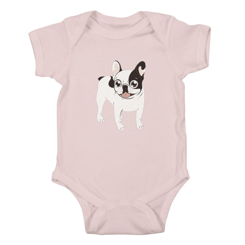 Happy and Fun Single Hooded Pied French Bulldog Kids Baby Bodysuit by Emotional Frenchies - Cute French Bulldog T-shirts