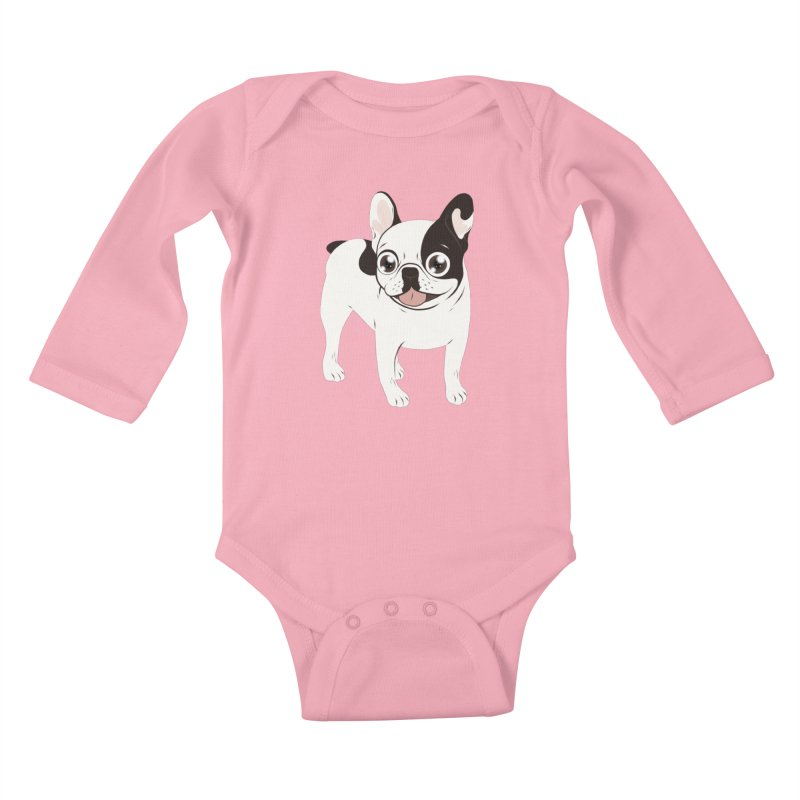 Happy and Fun Single Hooded Pied French Bulldog Kids Baby Longsleeve Bodysuit by Emotional Frenchies - Cute French Bulldog T-shirts