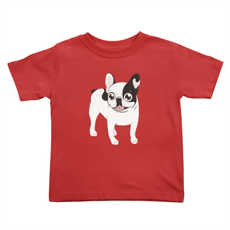 Happy and Fun Single Hooded Pied French Bulldog Kids Toddler T-Shirt by Emotional Frenchies - Cute French Bulldog T-shirts